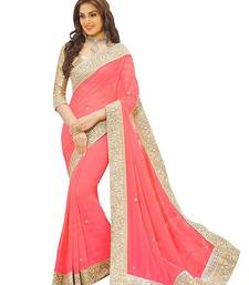 Buy Peach Stone Embellished georgette saree with blouse Piece georgette-saree online