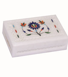 Buy Indian Art Handmade Multi Semi Perciouse Inlay Painting Work Marble Jewellery Box home-decor online