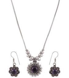 Buy Purple Stone simple Ethnic Style Necklace Set  necklace-set online