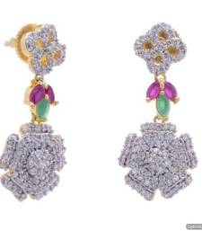 Buy ELEGANT AD STONE STUDDED  FLORAL THEME HANGINGS/JHUMKA/EARRINGS(AD RED GREEN) - PCFE3316 hoop online