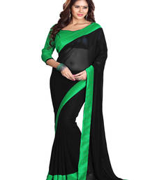 Buy Black embroidered georgette saree with blouse karwa-chauth-saree online