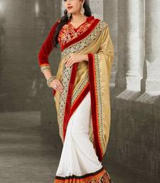Buy White & Beige Colour Silk & Chiffon Sari 387 diwali-sarees-collection online