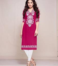Buy Pink plain Creap only material kurti  party-wear-kurti online