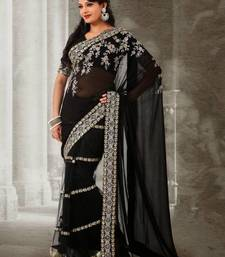 Buy Black Georgette With Net Skirt Sari 392  georgette-saree online