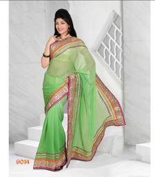 Buy Fashionic Green Color Viscos Shimmer Saree SIV9014 viscose-saree online