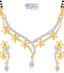 Buy Sukkhi Fine Gold and Rhodium Plated Cubic Zirconia Stone Studded Mangalsutra Set(14008MSCZK1400) mangalsutra online