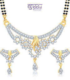 Sukkhi Magnificent Gold and Rhodium Plated Cubic Zirconia Stone Studded Mangalsutra Set(14025MSCZK1900) shop online
