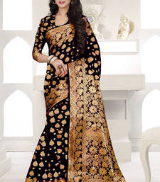 Buy Black plain banarasi silk saree with blouse banarasi-saree online