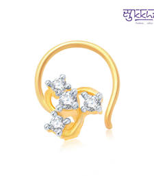 Buy Sukkhi Glimmery Gold and Rhodium Plated CZ Nose Pin(36019NPCZK200) nose-ring online