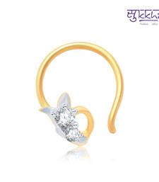Buy Sukkhi Wavy Gold and Rhodium Plated CZ Nose Pin(36047NPCZK200) nose-ring online