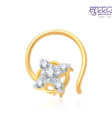 Buy Sukkhi Charming Gold and Rhodium Plated CZ Nose Pin(36051NPCZK200) nose-ring online