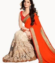 Buy orange embroidered dupion saree with blouse dupion-saree online