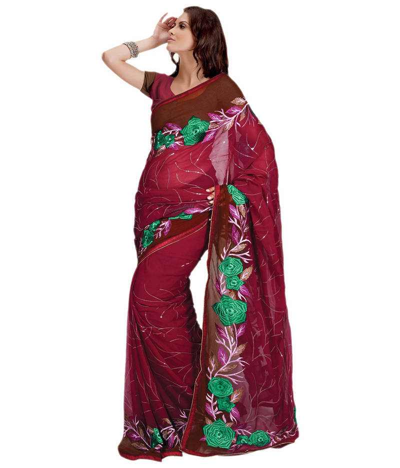 Buy Hypnotex saree pink Fancy georgette Embroidered and sequins work Trance006a Online