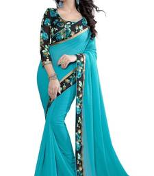 Buy Dark sky blue printed chiffon saree with blouse chiffon-saree online