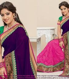 Buy Half Velvet & Half Brasso Net Saree     Tm57 net-saree online
