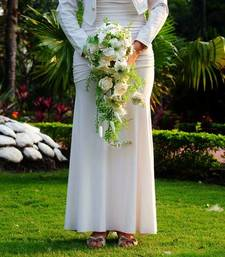 Buy Artificial flower  White+Cascading Bouquet+Bridal artificial-flower online