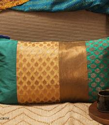 Buy Cushion cover - Teal long patch pillow-cover online
