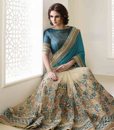Buy Multicolor embroidered paper cotton saree with blouse bridal-saree online