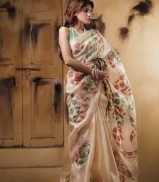 Buy Aavaranaa BeigeOrganza silk sarees organza-saree online