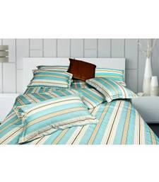 Buy Just Linen Premium 300 TC Multi Striped Flat Bedsheet Set King Size bed-sheet online