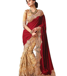 Buy Red plain net saree with blouse party-wear-saree online