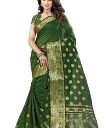 Buy Green hand woven tussar silk saree with blouse tussar-silk-saree online