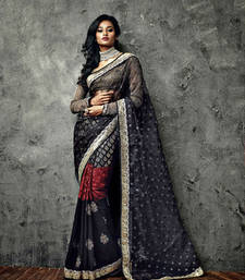 Buy Vishal Black Cream Saree Iifanazakat33509 party-wear-saree online