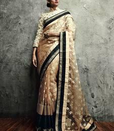 Buy Vishal Chikoo Cream Saree Iifanazakat33516 party-wear-saree online
