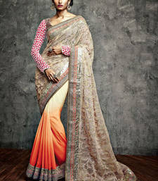 Buy Vishal Chikoo Orange Maroon Saree Iifanazakat33518 party-wear-saree online