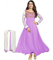 Buy Purple embroidered georgette semi stitched salwar with dupatta semi-stitched-salwar-suit online