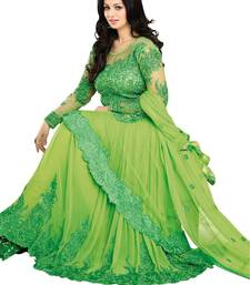 Buy Green embroidered net semi stitched salwar with dupatta semi-stitched-salwar-suit online