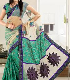 Buy Auspicious Cream & Turquoise Net Viscose Party Wear Saree With Blouse net-saree online