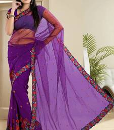 Buy  Efficient Violet Net and Faux Chiffon Party Wear Saree With Blouse net-saree online