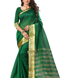 Buy Green printed tussar silk saree with blouse tussar-silk-saree online