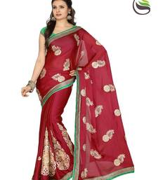 Buy Exclusive Maroon Color Satin Chiffon Designer Sarees With Blouse satin-saree online