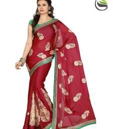 Buy Exclusive Maroon Color Satin Chiffon Designer Sarees With Blouse satin-saree online