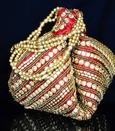Buy Handmade Satin Beadwork Potli Bag- Maroon potli-bag online