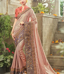 Buy Peach embroidered art silk saree with blouse art-silk-saree online