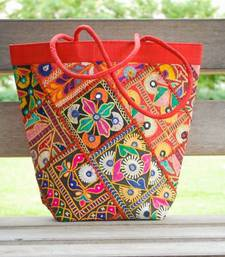 Buy Handmade Silk Kutch Work Handbag- Red handbag online
