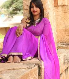 Buy 2D Purple Chiffon Saree chiffon-saree online