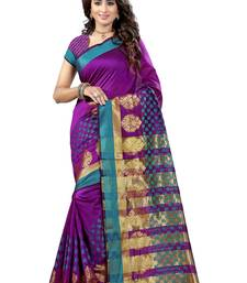 Buy Magenta woven tussar silk saree with blouse tussar-silk-saree online