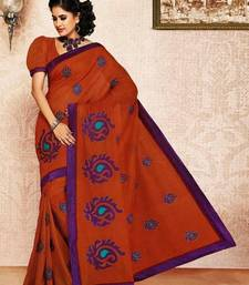 Buy Brown Color Cotton Saree DCS112 cotton-saree online