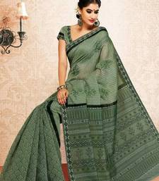 Buy Moss Green Color Cotton Saree DCS125 cotton-saree online