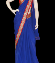 Buy Classic Blue Red chiffon-saree online