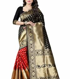 Buy Black hand woven cotton silk saree with blouse patola-sari online