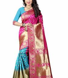 Buy Pink hand woven cotton silk saree with blouse patola-sari online