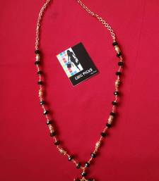 Buy Black Crystal Stone and Gold Beads Chain Necklace online