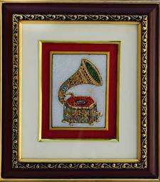 Buy eCraftIndia Marble Painting of Classical Horn Phonograph/Turntable wall-art online