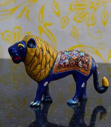 Buy eCraftIndia Meenakari Metal Statue of Royal Lion sculpture online