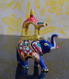 Buy eCraftIndia Meenakari Metal Ambabari Elephant other-home-accessory online